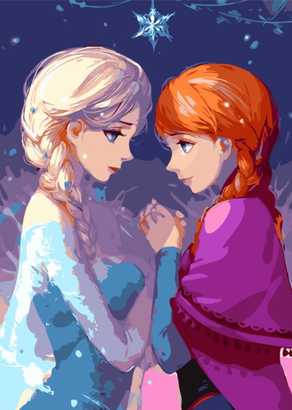 Malowanie po numerach – Elsa i Anna