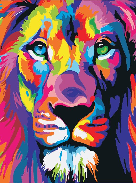 Malowanie po numerach – Lew kolorowy