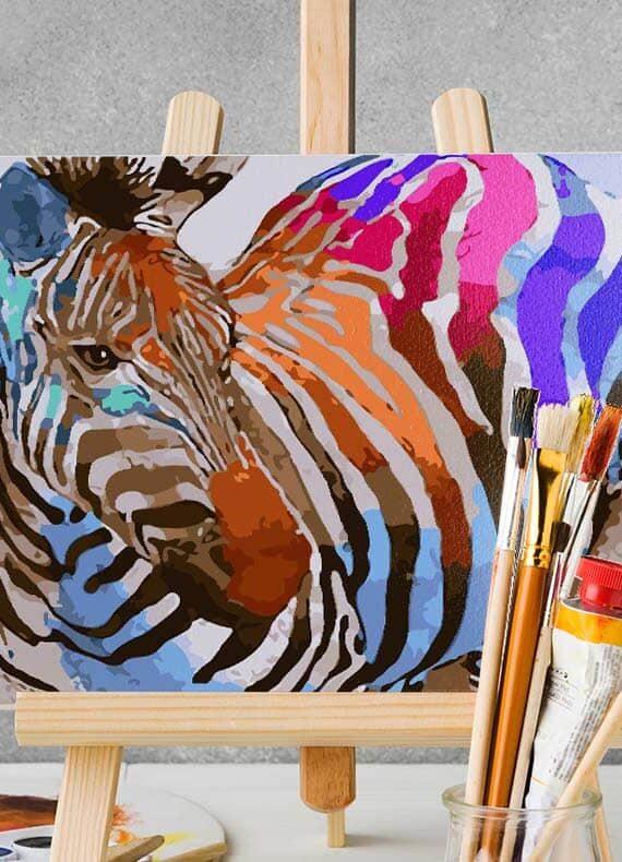 Malowanie po numerach – Zebra w kolorach