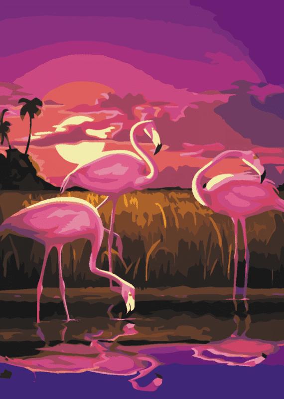 Malowanie po numerach – Flamingi