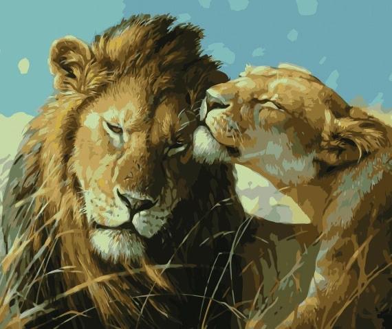 Malowanie po numerach – Lwy na safari