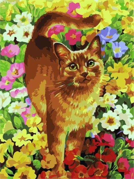 Malowanie po numerach – Rudy kotek