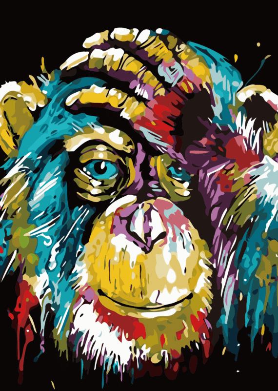 Malowanie po numerach – Szympans kolorowy