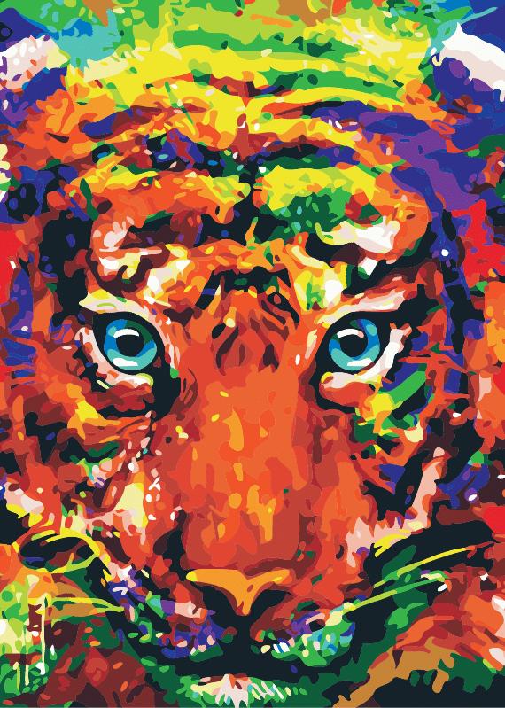Malowanie po numerach – Tygrys kolorowy